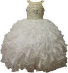 GIRLS RUFFLE DRESSES (IVO/GOLD) 0515741