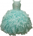 GIRLS RUFFLE DRESSES (MINT/SILVER) 0515741