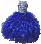 GIRLS RUFFLE DRESSES (R.BLUE/SILVER) 0515741