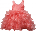 GIRLS RUFFLE DRESSES W/TAIL (CORAL) 0515742