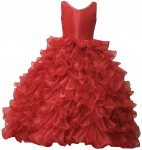 GIRLS RUFFLE DRESSES W/TAIL (RED) 0515742
