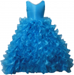 GIRLS RUFFLE DRESSES W/TAIL (TURQ) 0515742