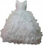 GIRLS RUFFLE DRESSES W/TAIL (WHITE) 0515742