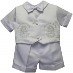 BOYS CHRISTENING SHORT PANTS SUIT W/ VIRGIN ON VEST