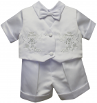 BOYS CHRISTENING SHORT PANTS SUIT W/ BIRDS & CROSSES ON VEST