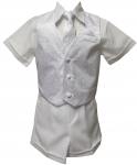 BOYS CHRISTENING SHORT PANTS SUIT W/JAGUAR VEST