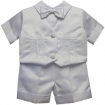 BOYS CHRISTENING SHORT PANTS SUIT W/ FINE CROSS ON VEST
