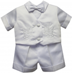 BOYS CHRISTENING SHORT PANTS SUIT W/ BIRD & CROSS ON VEST