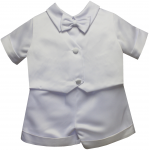 BOYS CHRISTENING SHORT PANTS SUIT W/ PLAIN VEST