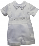 BOYS CHRISTENING SHORT PANTS JUMPER SUIT W/ CROSSES
