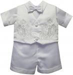 BOYS CHRISTENING SHORT PANTS SUIT W/ BIG CROSSES ON VEST