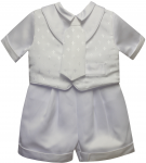 BOYS CHRISTENING SHORT PANTS SUIT W/ SMALL CROSSES ON VEST