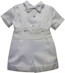 BOYS CHRISTENING JUMPER SUIT W/ SMALL CROSSES ON WAIST