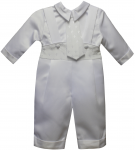 BOYS CRHISTENING JUMPER SUIT W/ FINE CROSSES ON WAIST