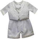 BOYS CHRISTENING SHORT PANTS SUIT W/ LONG TIE