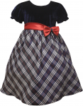 Girl's Plaid Casual Dress-Navy/Purple