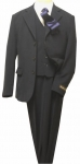 5PC. POLY/ VISCOUS SUIT W/ SOLID TIE (NAVY/WHITE)