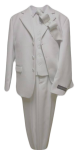 5PC. POLY/ VISCOUS SUIT W/ SOLID TIE (WHITE)