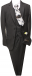 5PC. TWO BOTTOMS POLY/VISCOUS SUIT W/TIE (BLACK/WHITE)