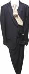 5PC. TWO BOTTOMS POLY/VISCOUS SUIT W/TIE (NAVY/WHITE)