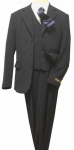 5PC. TWO BOTTOMS POLY/RAYON SUIT W/TIE (NAVY/WHITE)