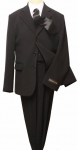 5PC. TWO BOTTOMS POLY/RAYON SUIT W/TIE (BLACK/WHITE)