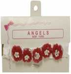 Baby Head Band w/ Elastic and Bows-Red