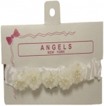 Baby Head Band w/ Elastic and Bows-White