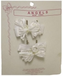 Two Clip on Hair Ribbons 0666027-White