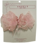 Single Clip on, Bow w/ Organza 0666049-Pink