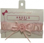 Baby Head Band w/ Elastic Satin and Bow 0666608-Pink