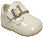 Low Top Plain Toe w/ Velcro Buckle-White