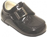 Boys Crocco Dressy Shoe w/ Velcro Buckle-BlackPatCrocco