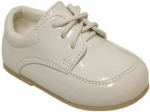 Boys Lace Up Dressy Shoe-WhtPat