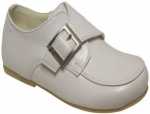 Boys Dressy Shoe w/ Velcro Buckle-WhtSmooth