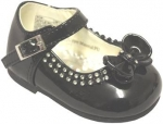 Girls Dressy Shoe w/ Bow and Rhinestones Design-BlkPat