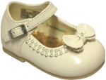 Girls Dressy Shoe w/ Bow and Rhinestones Design-BonePat