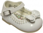 Girls Dressy Shoe w/ Bow and Rhinestones Design-WhtPat