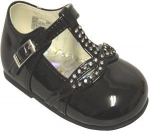 Girls Dressy Shoe w/ Fancy Rhinestones-BlkPat