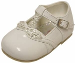 Girls Dressy Shoe w/ Fancy Rhinestones-WhtPat