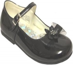 Girls Dressy Shoe w/ Bow-BlackPat