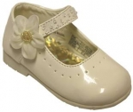 Dress Shoe w/ Perforation & Flower on Velcro Buckle