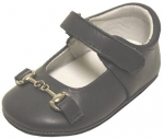 Girls Mocassin Leather w/ Chain-Pewter