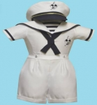 Boys Sailor Suit w/ Hat 2072046- (White/ Navy)