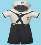 Boys Sailor Suit w/ Hat 2072046-1-Poly (Navy/ White)