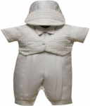 Boys Christening Suit w/ Hat 2072101-White