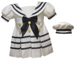 Girls Sailor Bow Dresses- 2092044 White/Navy