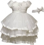 GIRLS DRESSES W/ FLOWER IN FRONT (WHITE)