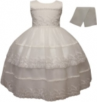 GIRLS FANCY DRESSES W/ SCARF (WHITE)
