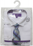 BOYS DRESSY SHIRT & TIE (LONG SLEEVE) WHT/BLACK